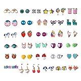Hypoallergenic Earrings For Girls Teens Kids, Stainless Steel Stud Earrings Set, Animal Alpaca Rainbow Unicorn Cute Earring Jewelry Gifts for Girls Kids Women (32two)