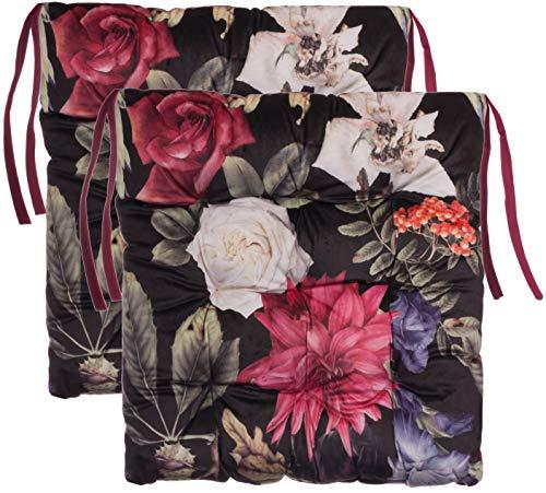Brandsseller Sitzkissen Blumen 9er Steppung Stuhlkissen Samt Feeling ca. 40x40x7 cm 2er-Paket Rot
