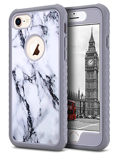 ULAK iPhone 8 & 7 Case, Marble Shockproof Flexible Durability TPU Bumper Case, Durable Anti-Slip, Front and Back Hard PC Defensive Protective Cover for Apple iPhone 7/8 4.7 inch, Marble Pattern