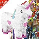Pinata-Set * Einhorn * mit großer Zug-Piñata + 100-teiliges Süßigkeiten-Füllung No.1 von Carpeta | Spanische Zugpinata für bis zu 20 Kinder | Tolles Unicorn Spiel für Mädchen Kindergeburtstag