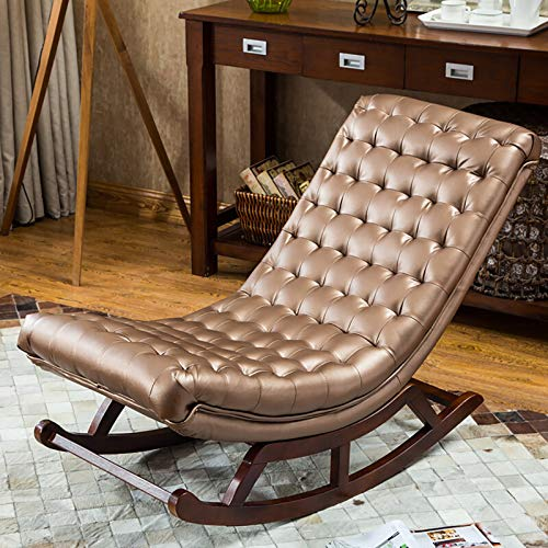 ATTDDP Rocking Chairs Living Room Chair Lounge Chair with Backrest And Armrest Leather Cushion Relaxing Recliner Chair for Living Room, Patio And Terrace,G