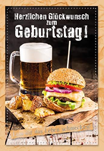 Geburtstagskarte für Männer, Geburtstag, B6, im Format DIN B6 176 x 125 mm, Klappkarte inkl. Umschlag, Motiv: Burger und Bier