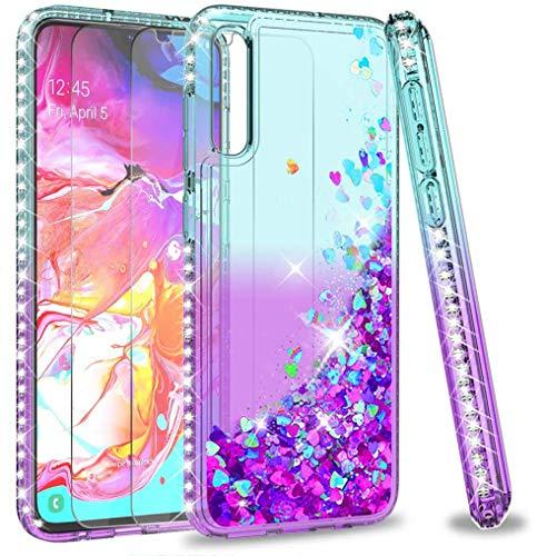 LeYi Funda Samsung Galaxy A70 / A70s Silicona Purpurina Carcasa con [2-Unidades Cristal Vidrio Templado], Transparente Cristal Bumper Gel TPU Fundas Case Cover para Movil Samsung A70 Verde/Morado
