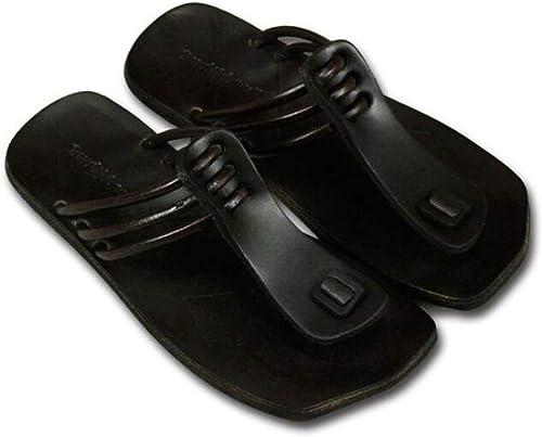 Sandalias de mujer Sandalias de Cuero Hechas a Mano Chanclas Casuales Personalizadas con Sandalias Casuales de Fondo Suave Cómodos zapatos de Playa Salvaje 35-38