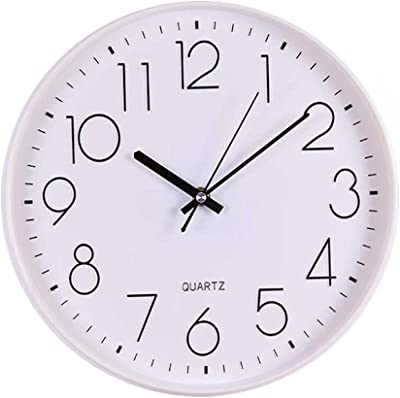 Beesealy Wall Clock,Modern Silent Wall Clock, Quartz Wall Clock Non-Ticking Decoration, Battery-Operated Clock with White Plastic Frame 12 inches