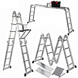 Keraiz 14-in-1 (15.5ft) 4.7m Folding Multifinction Multipurpose Ladders with 2 Scaffold Working Plates and 1 Tool Tray - Folding Ladder | Foldable Ladder | Aluminium Ladder | Manufactured to EN131 Part 1 and 2 Specifications