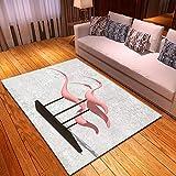 CGZLNL Alfombra de Suelo Escultura Animal Flamenco Abstracto Home Alfombra Impreso Fácil de Limpiar Salón Comedor Dormitorio Alfombra de Suelo Tamaño: 160 x 230 cm