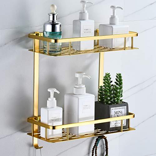 Duschablage ohne Bohren, Quadrat Duschregal Badezimmer Regal für Shampoo und Duschgelhalter Bad Wandregal Organizer Mit 2 Haken(Doppel Schicht,Messing Golden)