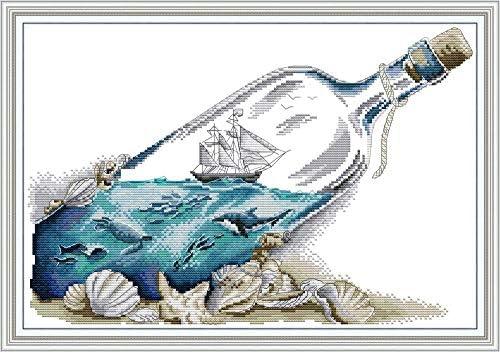 Cross Stitch Embroidery Kits for Adults Kids WOWDECOR Drifting Bottle Sea Sailboat Whale 11CT product image