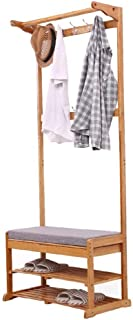 Entryways Shoe Rack Shoe Rack,Coat Racks Bamboo Multifunction Storage Floor Coat Bench Change Shoe Bench Hall Clothes Hang...