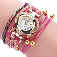 女性ファッションラインストーンラブハートダイヤルクォーツ腕時計多層バンドブレスレットウォッチ便利で実用的