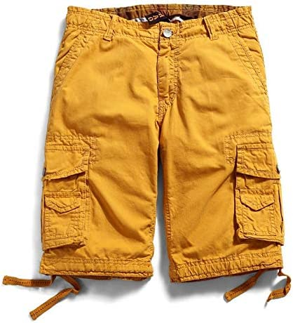 JiuRui Leisure Shorts Straight Pockets Cargo Shorts for Men Boardshorts Military Cotton Trousers 29-40 (Color : Yellow, Size : 29)