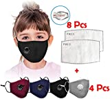 Reusable Face Bandanas, Washable Face Cotton 4 Pcs with 8 Pcs Filters for Children