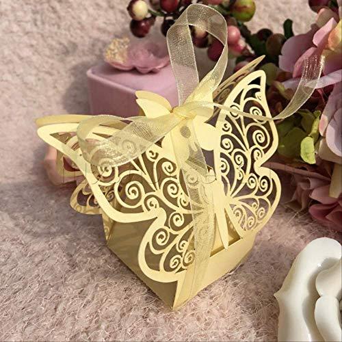 Geschenkdoos BLTLYX 10 stks/set vlinder laser gesneden holle wagen gunsten doos geschenken snoep dozen met lint baby shower bruiloft evenement feestartikelen 8 * 4.5 * 8cm goud