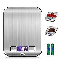bilancia digitale da cucina,adoric bilancia digitale elettronica da cucina con alimenti 5kg/11lb e acciaio inossidabile(argento)