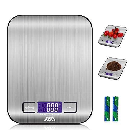 ADORIC Bilancia Digitale da Cucina, Bilancia Digitale Elettronica da Cucina con Alimenti 5kg/11lb e Acciaio Inossidabile(Argento)