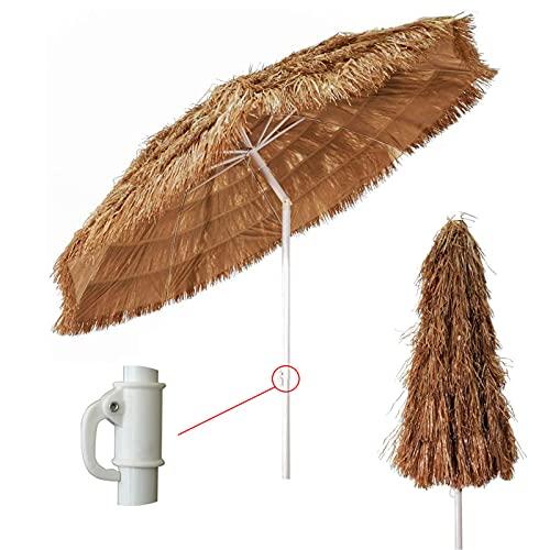 LDJ Rond Hawai Parasol Inclinable Et Réglable en Hauteur Exterieur Parasol Naturel Protection UV Parasol Imitation Paille Parapluie Extérieur (1.8m)
