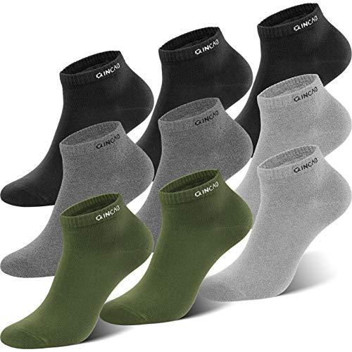 QINCAO Sneaker Socken Herren Damen 9 paar Sportsocken Baumwolle Kurze Halbsocken Unisex Socken(Schwarz x3/ Grau x2/ Grau x2/ Grün x2, 47-50)
