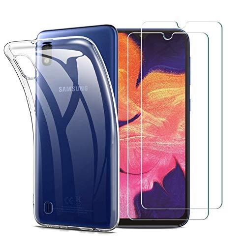 iLieber Samsung Galaxy A10 Hülle Panzerglas, [2 Panzerglas + 1 Hülle] Handyhülle [Ultra Dünn] TPU Silikon Hülle Cover Schutzfolie Folie Glas für Samsung Galaxy A10