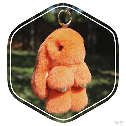 RitzyBay Handmade Rex Rabbit Fur Bunny Keychain with RitzyBay GiftBox (Large, Grey)
