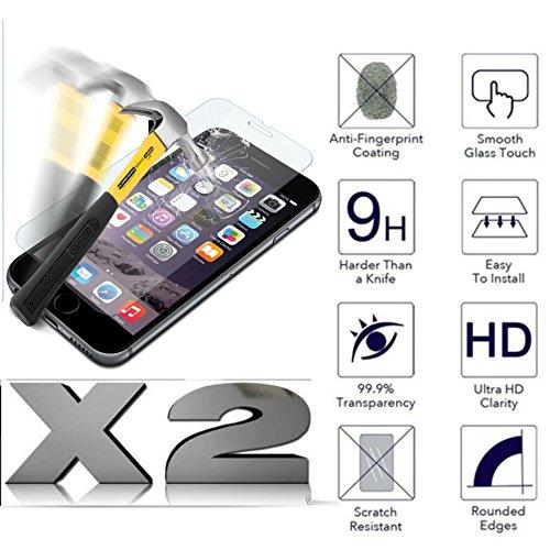 KIT N2 Stück Leder (2 Pack) für ASUS ZENFONE GO ZC500TG Z00VD (5.0) Panzerglasfolie 9H Touchscreen stoßfest