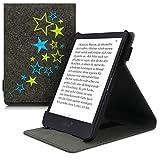 kwmobile Hülle kompatibel mit Tolino Shine 3 - Schlaufe Ständer - e-Reader Schutzhülle - Sternenmix Hellgrün Blau Dunkelgrau