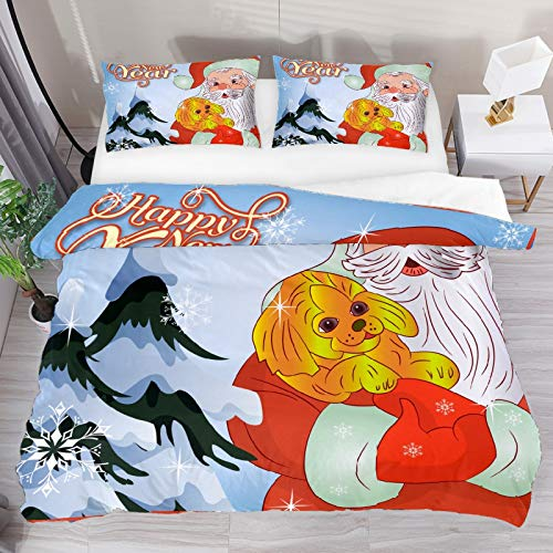 SENNSEE Christmas Happy New Year Santa Claus 3 Piece Duvet Cover Set Twin Size 66'x90' Soft Quilt Cover Decorative Bedding Sets 1 Duvet Cover 1 Pillowcase Polyester Bedspread