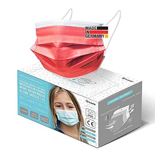 HARD 50x Kinder Medizinischer Mundschutz, Made in Germany, TYP IIR OP-Maske, CE zertifiziert EN14683 99,78% BFE 3-lagig Öko TEX, schützende Mund-Nasen-Bedeckung, Einweg-Gesichtsmasken - Rot