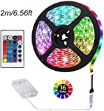 ACONDE Battery Powered LED Strip Lights, RF Remote Controlled, Multi-Color Changing, DIY Indoor