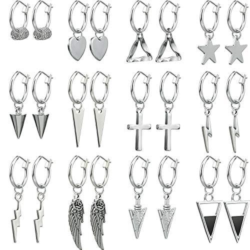 12 Pairs Silver Charm Earrings Huggie Hoop Earrings Dangle Hinged Hoop Cuff Earrings