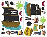 Samunshi® 19x Wandtattoo Piraten Set Wandbilder Kinderzimmer Deko Junge Wandtattoo Kinderzimmer Mädchen Wandsticker Kinderzimmer 2X 16x26cm