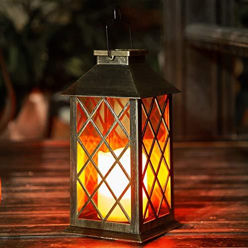 Solar Laterne mit LED Kerze und Täuschend echt Wirkenden Flacker-Effekt, OxyLED IP44 Festive Light für Deko Garten(1 Stück) für St Martin