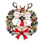 Lankater Pin Navidad Broche del Árbol De Navidad del Copo De Nieve del Bastón De Cana De Apple Broche De Ciervos Collar