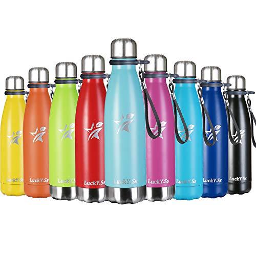 LuckY.Ss Borraccia Termica 500ML 750ML 1000ML in Acciaio Inox - Bottiglia Acqua Termos da Scuola Viaggio Sport per Portatile Inossidabile (1000ml, Rosa)