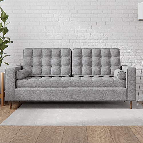 Edenbrook Lynnwood Upholstered Sofa with Square Arms and Tufting-Bolster Throw Pillows Included, Light Grey