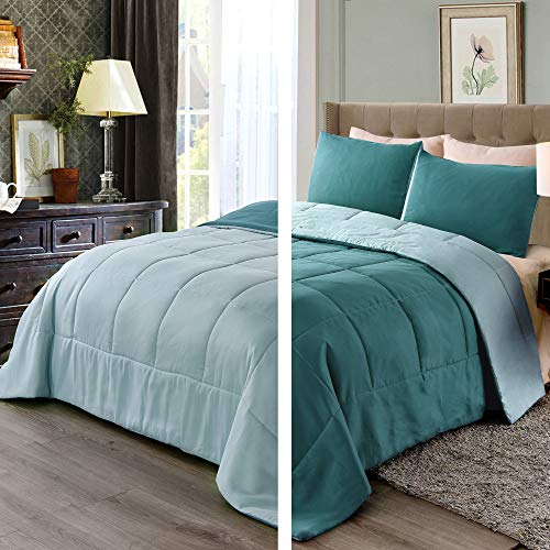 Exclusivo Mezcla Lightweight Reversible 3 Piece Comforter Set for All Seasons, Down Alternative Comforter with 2 Pillow Shams, King Size, Turquoise