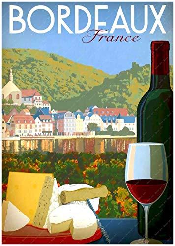 Cartel de mapa turístico de Burdeos, Francia, país vinícola, revestimiento artístico, póster, lienzo, pintura al óleo, decoración, lienzo 40X60cm violeta