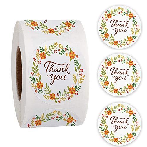 500 pegatinas redondas de agradecimiento florales, etiquetas adhesivas con etiquetas engomadas para sellar flores, tarjetas, bodas, fiestas, sobre, regalo