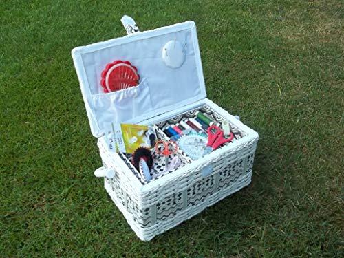 Boîte à couture garnie, panier à couture avec kit de couture, rouge et blanc, env. 30 cm x 19 cm