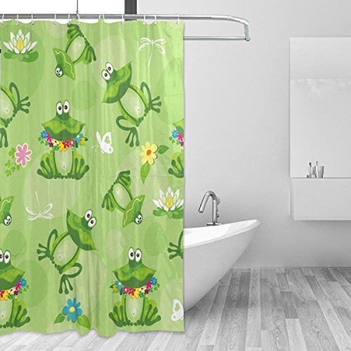 Bennigiry Wasserlilie lustiger Frosch Polyesterstoff Duschvorhang 152,4 x 182,9 cm, Schimmel antibakteriell geruchlos wasserdicht Badezimmer dekorativer Badvorhang