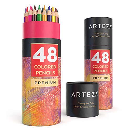 Arteza Buntstifte dreikant 48er-Set, Malstifte in tragbarer Runddose, mischbare Farbstifte mit bruchsicheren Minen, zum Ausmalen & Schattieren, Künstlerbedarf für Erwachsene und Kinder