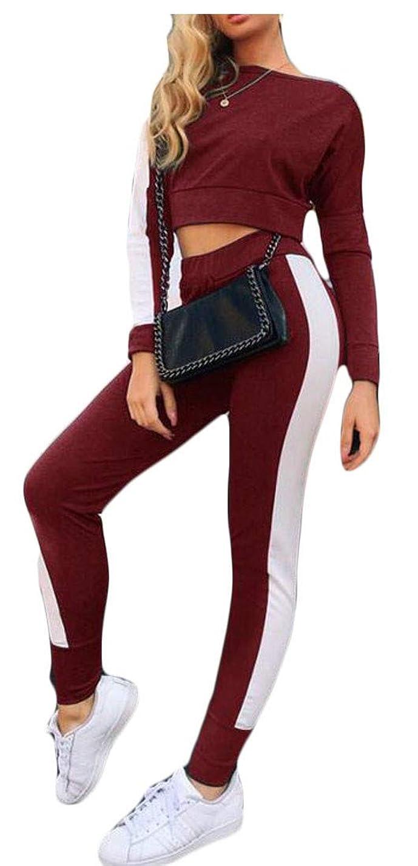 オートマトン排気比類なき女性アスレチック作物トップパンツスポーツウェアカラーブロックスウィートセット