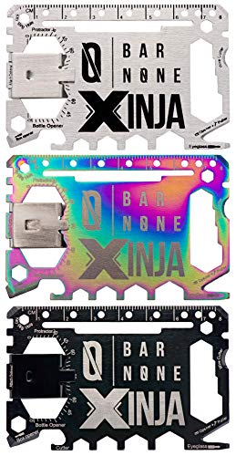 Bar None Xinja 50 in 1 Credit Card Multitool Wallet Multi Tool Money Clip EDC Gerber Leatherman Knives Everyday Carry, Stainless Color