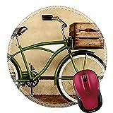Mauspad Naturkautschuk Runde Mousepad Retro-Stil Sepia Bild eines Vintage Beach Cruiser Fahrrad mit Holzkiste Bild-ID 21576496
