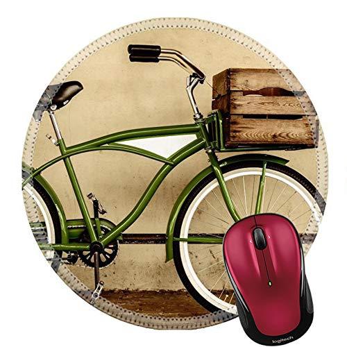 Mauspad Naturkautschuk Runde Mousepad Retro-Stil Sepia Bild eines Vintage Beach Cruiser Fahrrad mit Holzkiste