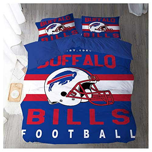 HOXMOMA Duvet Cover Sets 3D Printing NFL Buffalo Bills Pattern, Children Adult Bedding Set 100% Polyester, Gift Microfiber Duvet Cover 3 Pieces with 2 Pillowcases,Blue,US 173x218