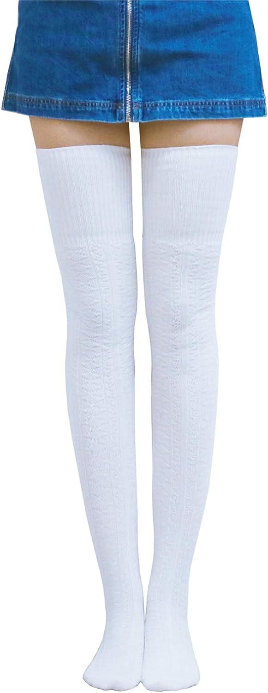 AnVei-Nao Thigh High Socks for Women Girls Over Knee Socks Warm Winter Leg Warmers Khaki