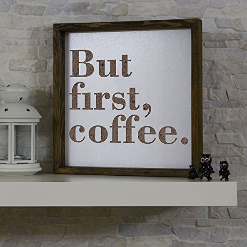 "LaModaHome Words Wall Art, But First Coffee Coffee, Espresso Latte Americano - Size (13.3"" x 13.3"") Thickness (1.4""), 100% Pine Wood Frame Ready to Hang - Wall Hanging for Living Room, Bedroom, Dorm"