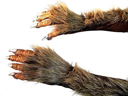 shoperama Lange Werwolf Handschuhe mit Krallen und Fell Krallenhand Klauen Dämon Monster Kostüm-Zubehör