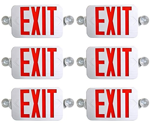 Supreme LED 6 Pack All LED Decorative Red White Exit Sign & Emergency Light Combo with Battery Backup (6 Pack), White/Red